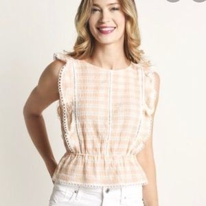 BB Dakota • Pink Gingham Flutter Top